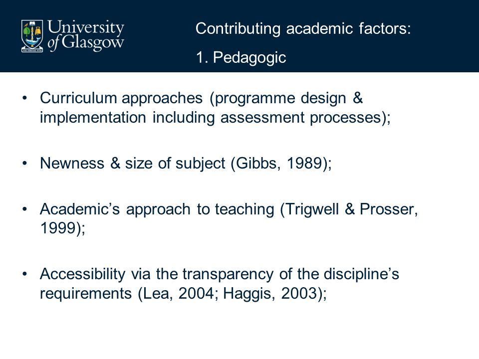 Contributing academic factors: 1.