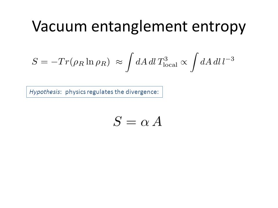 Vacuum entanglement entropy Hypothesis: physics regulates the divergence: