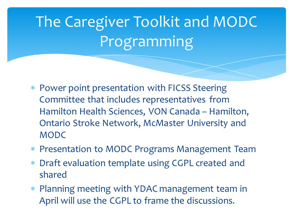  Power point presentation with FICSS Steering Committee that includes representatives from Hamilton Health Sciences, VON Canada – Hamilton, Ontario S