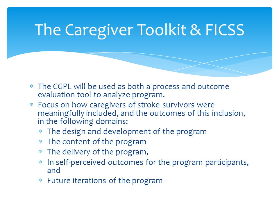  The CGPL will be used as both a process and outcome evaluation tool to analyze program.  Focus on how caregivers of stroke survivors were meaningfu