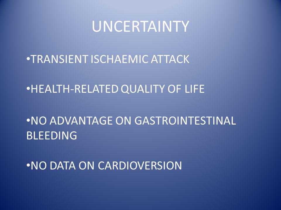 UNCERTAINTY TRANSIENT ISCHAEMIC ATTACK HEALTH-RELATED QUALITY OF LIFE NO ADVANTAGE ON GASTROINTESTINAL BLEEDING NO DATA ON CARDIOVERSION