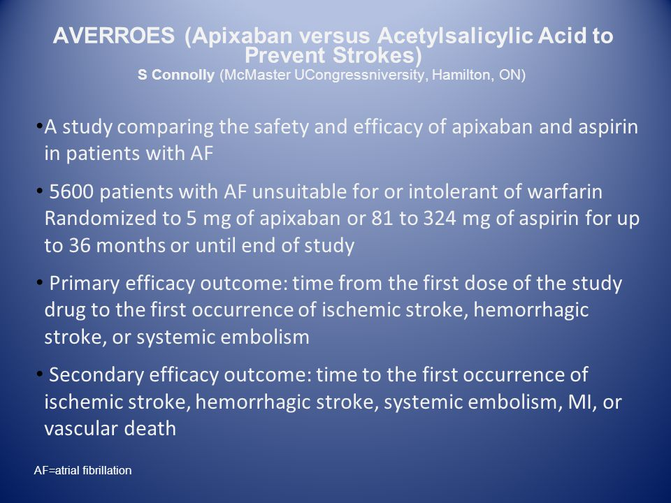 A study comparing the safety and efficacy of apixaban and aspirin in patients with AF 5600 patients with AF unsuitable for or intolerant of warfarin Randomized to 5 mg of apixaban or 81 to 324 mg of aspirin for up to 36 months or until end of study Primary efficacy outcome: time from the first dose of the study drug to the first occurrence of ischemic stroke, hemorrhagic stroke, or systemic embolism Secondary efficacy outcome: time to the first occurrence of ischemic stroke, hemorrhagic stroke, systemic embolism, MI, or vascular death S Connolly (McMaster UCongressniversity, Hamilton, ON) AVERROES (Apixaban versus Acetylsalicylic Acid to Prevent Strokes) AF=atrial fibrillation