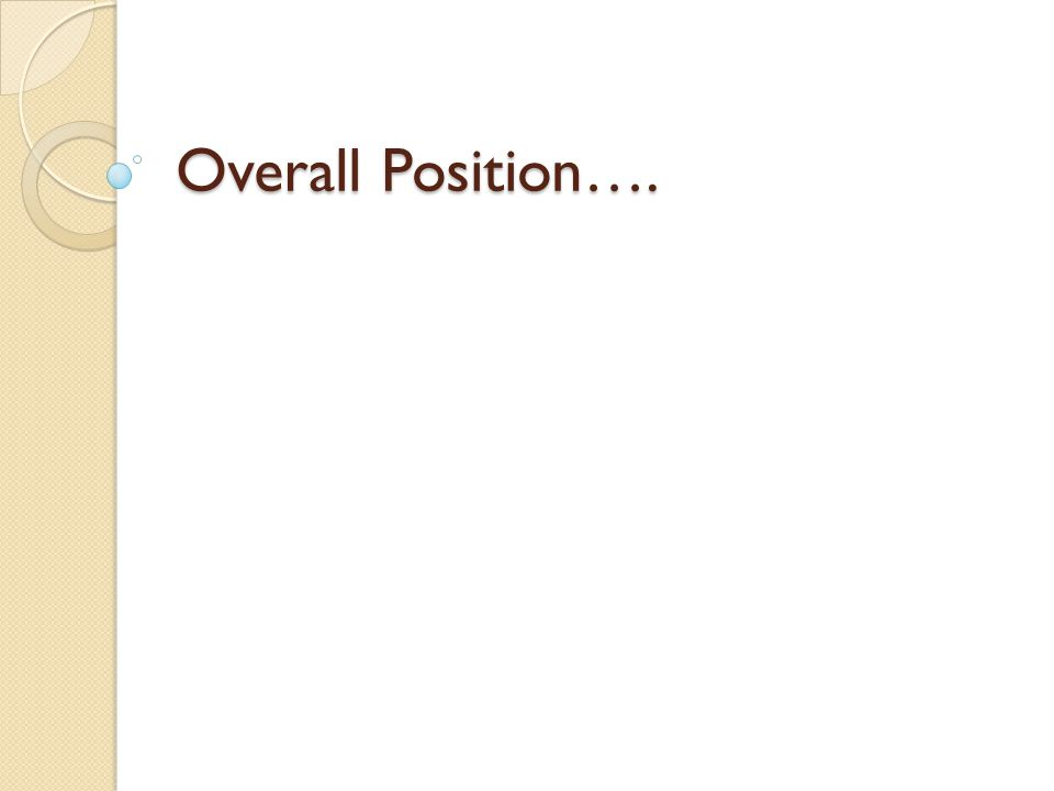 Overall Position….