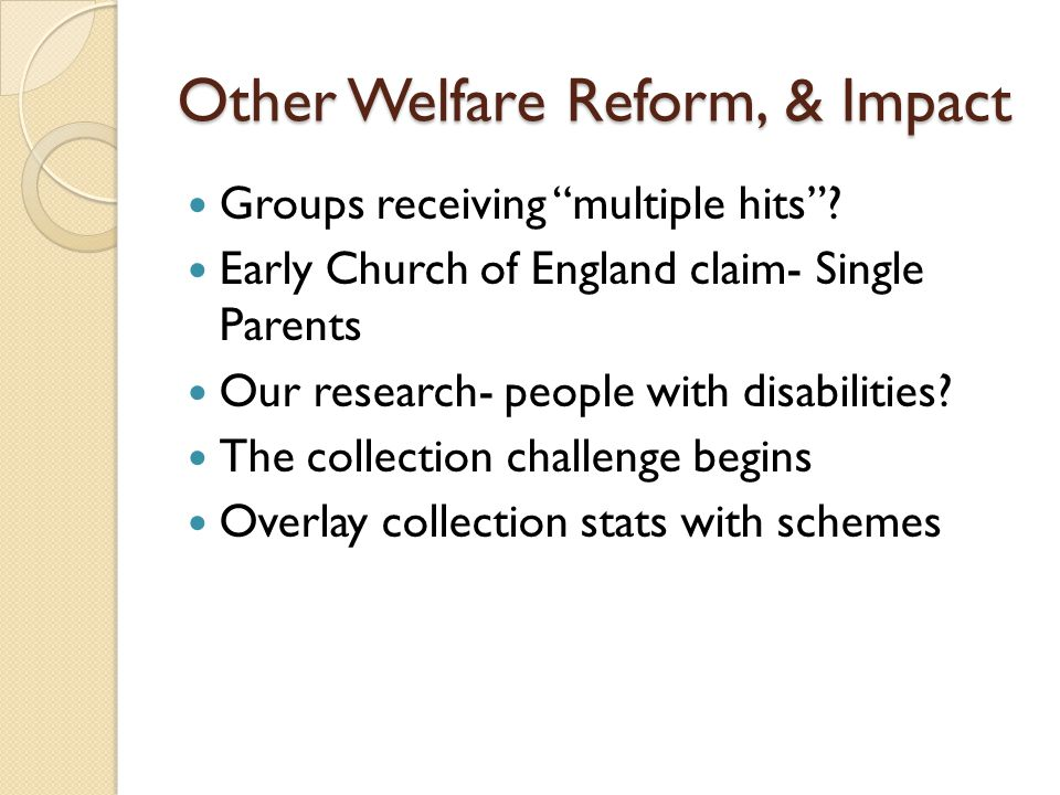 Other Welfare Reform, & Impact Groups receiving multiple hits .