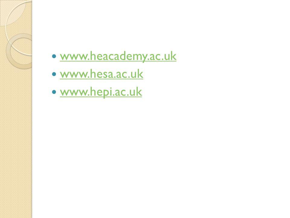 www.heacademy.ac.uk www.hesa.ac.uk www.hepi.ac.uk