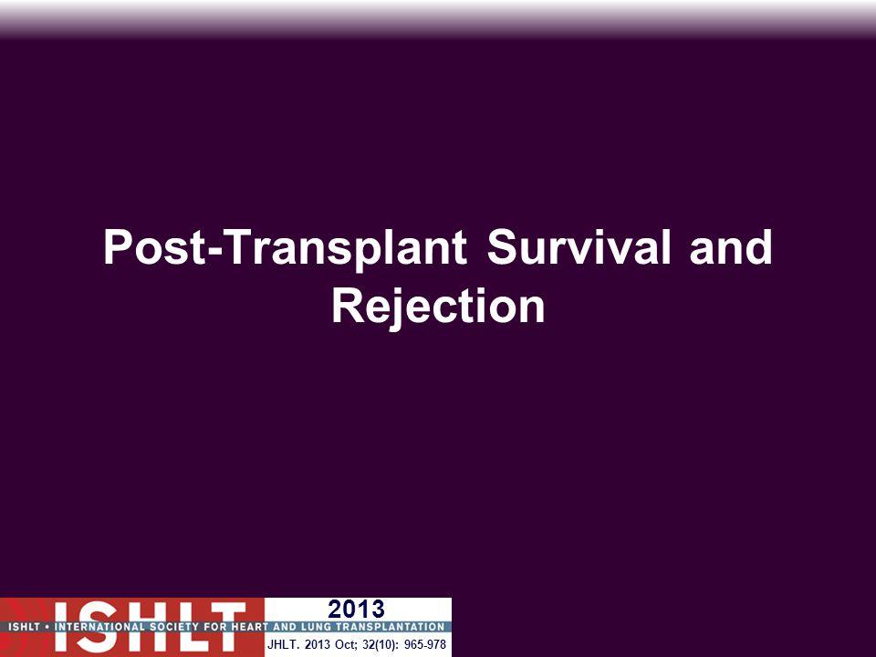 Post-Transplant Survival and Rejection JHLT. 2013 Oct; 32(10): 965-978 2013