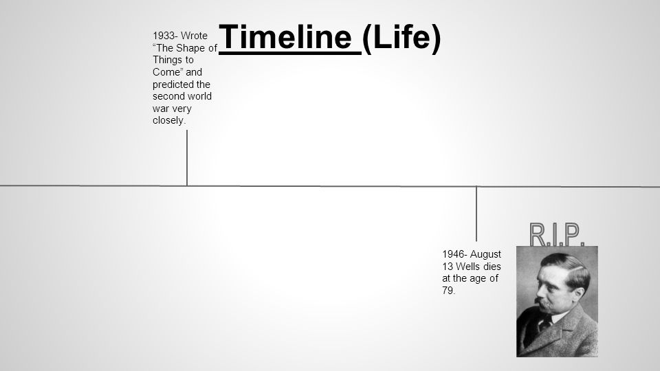 Timeline (Life) 1933- Wrote The Shape of Things to Come and predicted the second world war very closely.