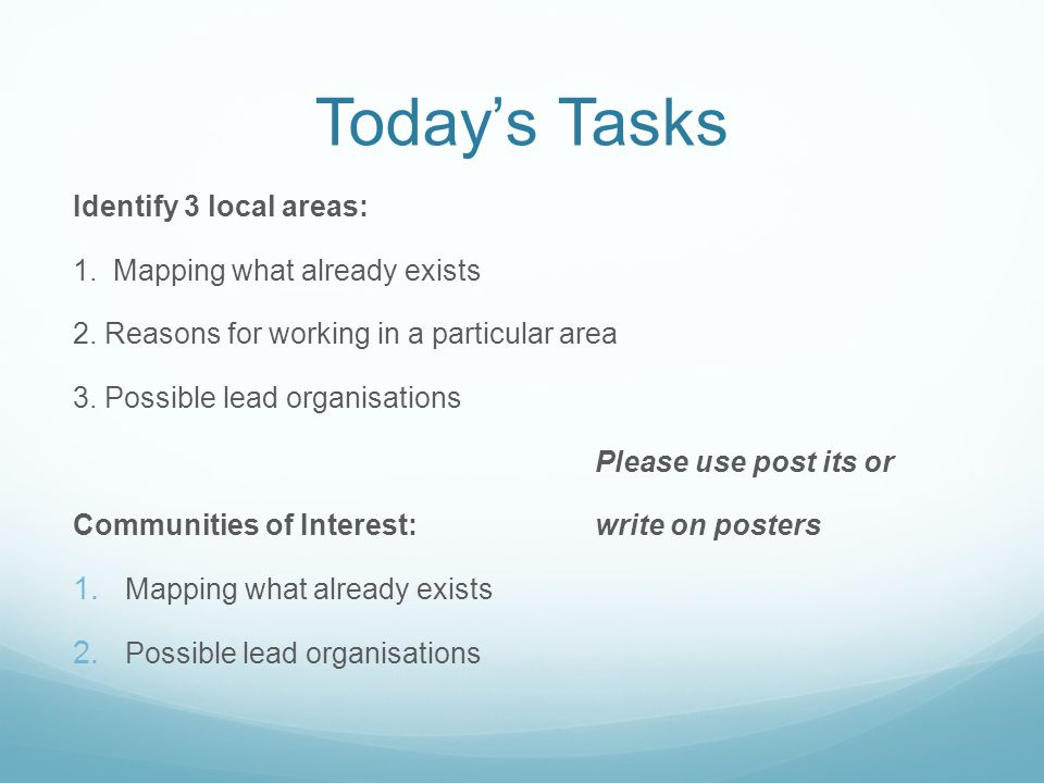 Today's Tasks Identify 3 local areas: 1. Mapping what already exists 2.