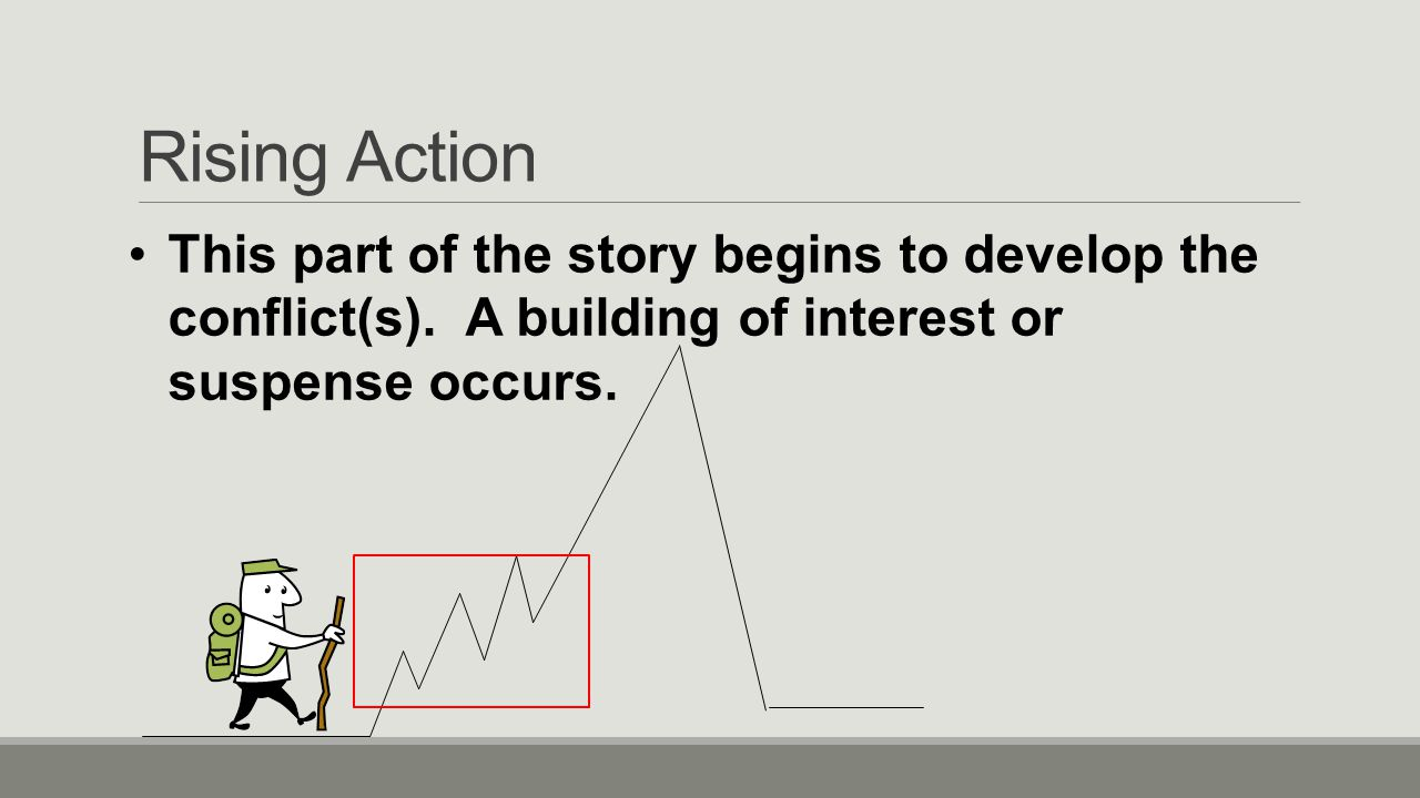 Rising Action This part of the story begins to develop the conflict(s).