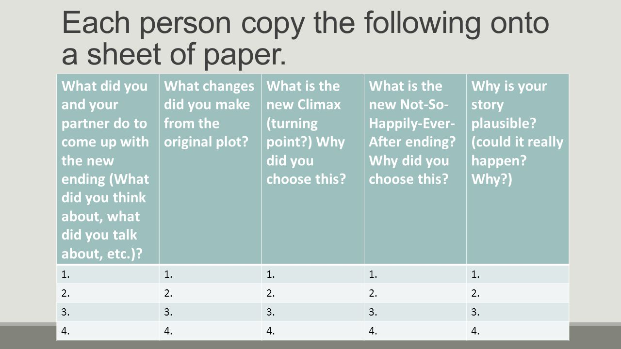 Each person copy the following onto a sheet of paper.