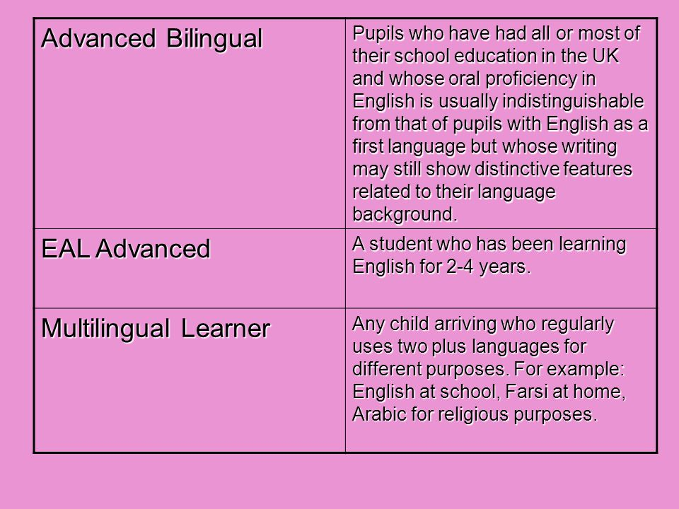 Advanced Bilingual Pupils who have had all or most of their school education in the UK and whose oral proficiency in English is usually indistinguishable from that of pupils with English as a first language but whose writing may still show distinctive features related to their language background.