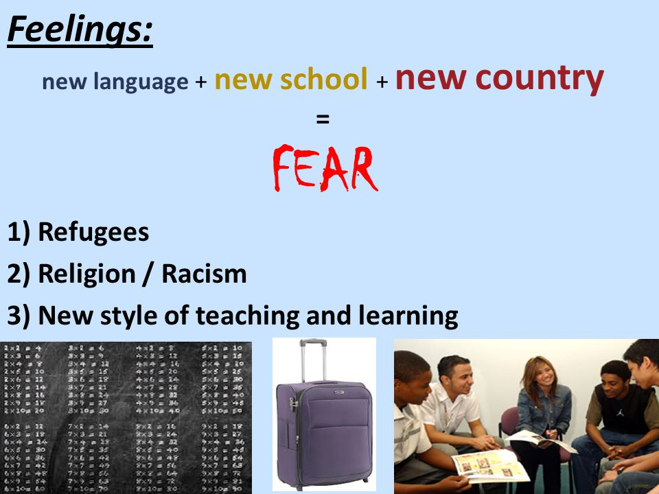Feelings: new language + new school + new country = FEAR 1) Refugees 2) Religion / Racism 3) New style of teaching and learning