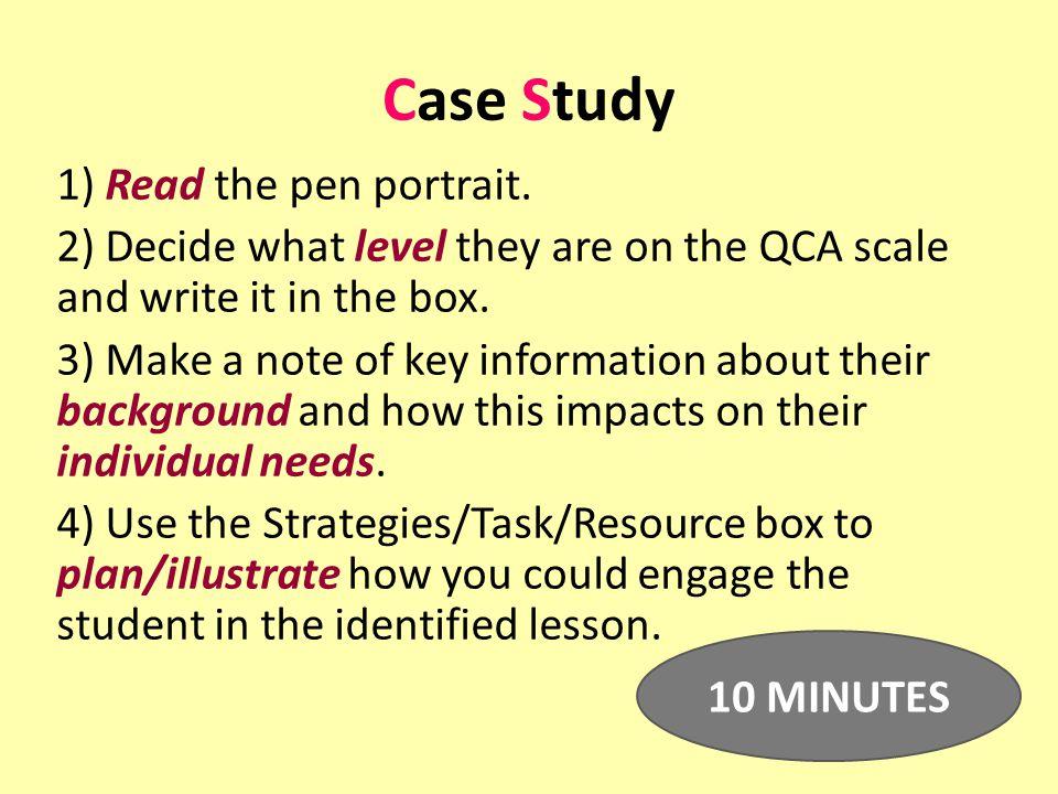 Case Study 1) Read the pen portrait.