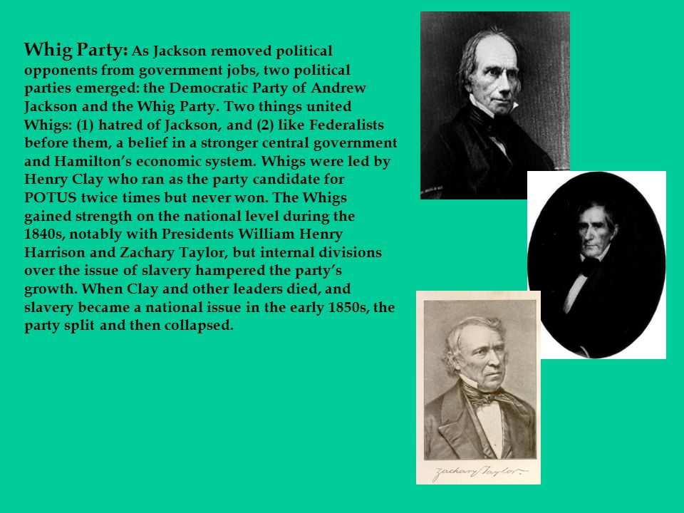 Whig Party: As Jackson removed political opponents from government jobs, two political parties emerged: the Democratic Party of Andrew Jackson and the