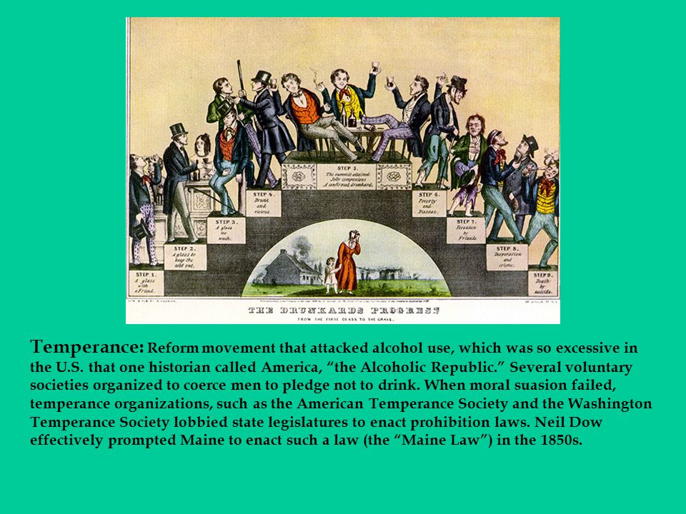 """Temperance: Reform movement that attacked alcohol use, which was so excessive in the U.S. that one historian called America, """"the Alcoholic Republic."""""""
