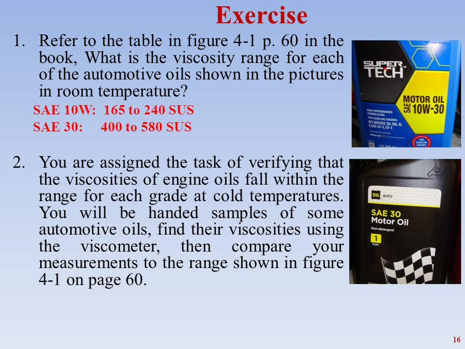 Exercise 1.Refer to the table in figure 4-1 p. 60 in the book, What is the viscosity range for each of the automotive oils shown in the pictures in ro