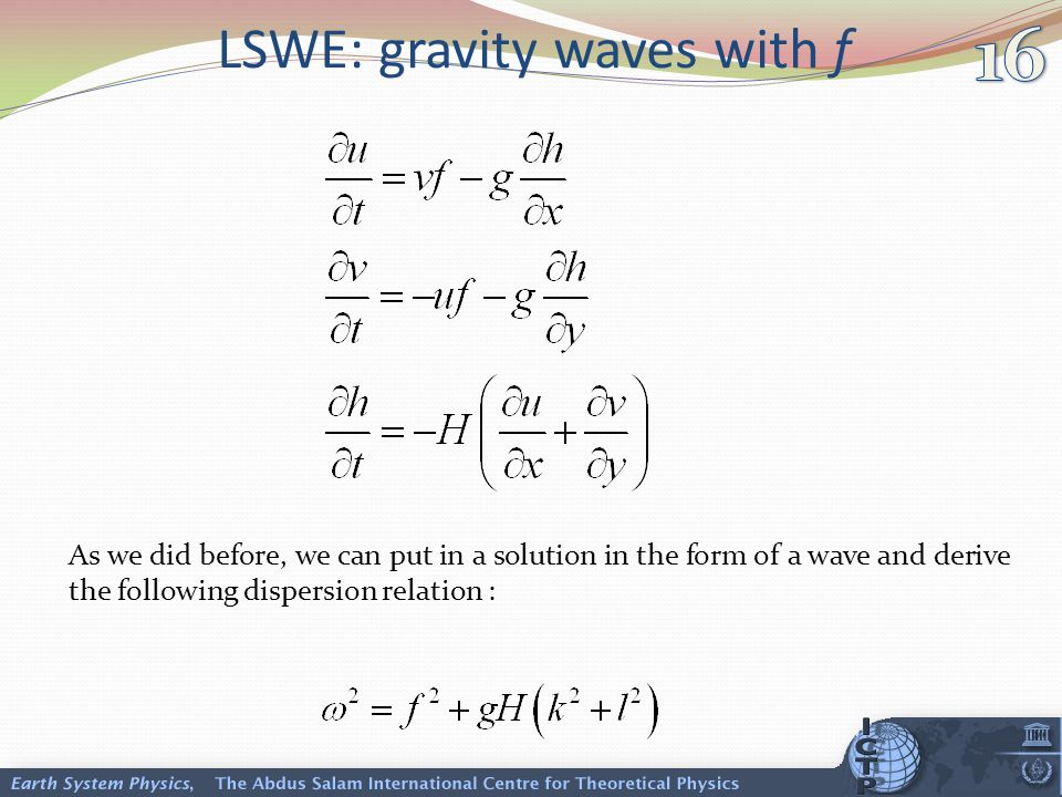 LSWE: gravity waves with f As we did before, we can put in a solution in the form of a wave and derive the following dispersion relation :