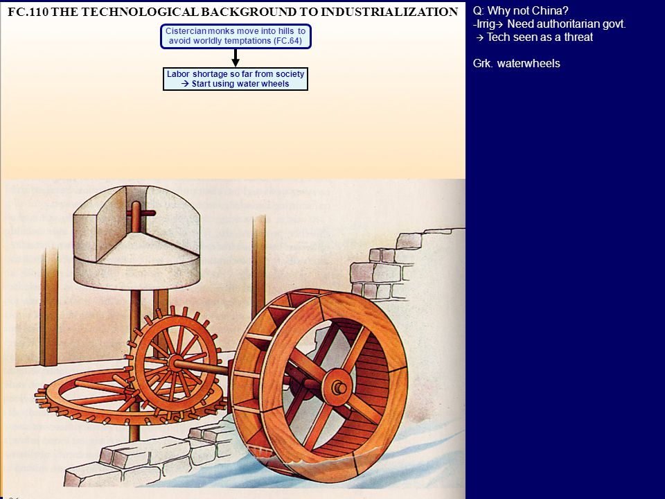 FC.110 THE TECHNOLOGICAL BACKGROUND TO INDUSTRIALIZATION Labor shortage so far from society  Start using water wheels Cistercian monks move into hills to avoid worldly temptations (FC.64) Q: Why not China.