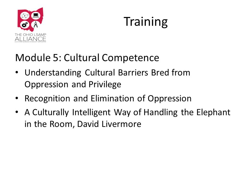 Training Module 5: Cultural Competence Understanding Cultural Barriers Bred from Oppression and Privilege Recognition and Elimination of Oppression A Culturally Intelligent Way of Handling the Elephant in the Room, David Livermore