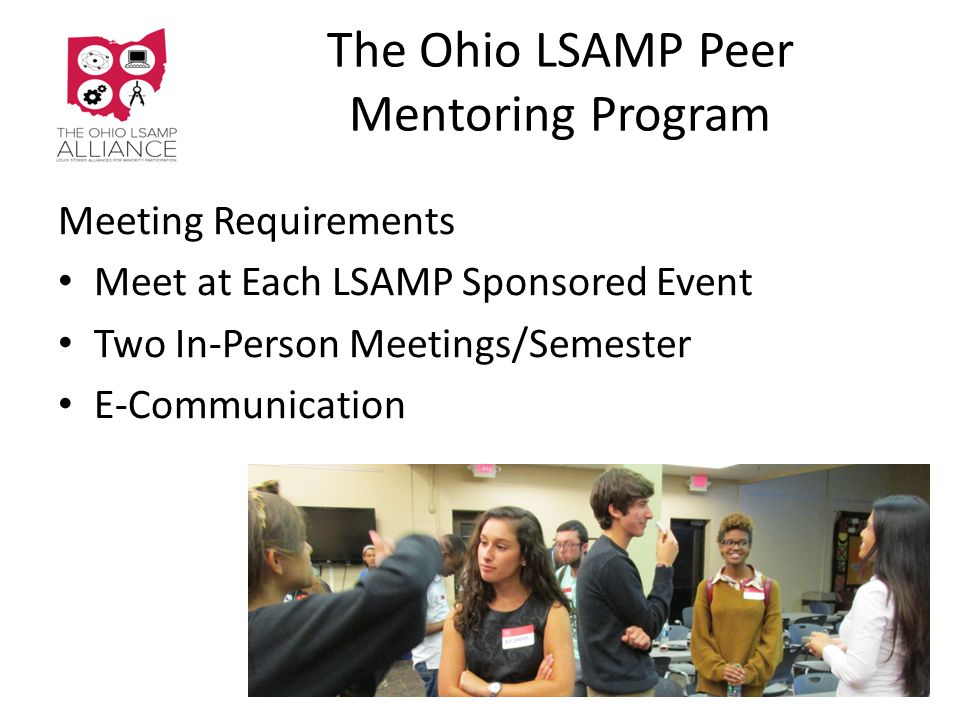The Ohio LSAMP Peer Mentoring Program Meeting Requirements Meet at Each LSAMP Sponsored Event Two In-Person Meetings/Semester E-Communication