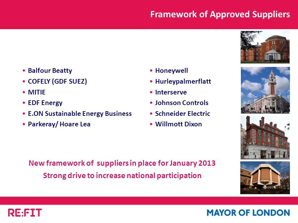 Balfour Beatty COFELY (GDF SUEZ) MITIE EDF Energy E.ON Sustainable Energy Business Parkeray/ Hoare Lea Honeywell Hurleypalmerflatt Interserve Johnson Controls Schneider Electric Willmott Dixon Framework of Approved Suppliers New framework of suppliers in place for January 2013 Strong drive to increase national participation