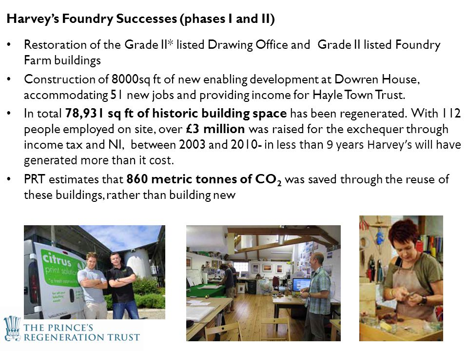 Harvey's Foundry Successes (phases I and II) Restoration of the Grade II* listed Drawing Office and Grade II listed Foundry Farm buildings Construction of 8000sq ft of new enabling development at Dowren House, accommodating 51 new jobs and providing income for Hayle Town Trust.
