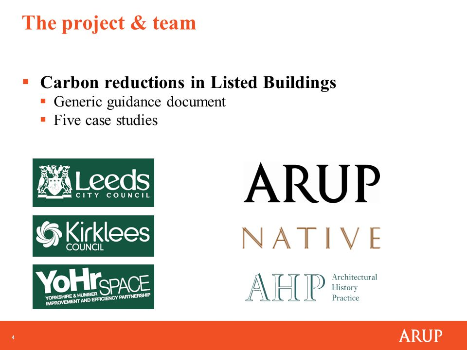 4 The project & team  Carbon reductions in Listed Buildings  Generic guidance document  Five case studies
