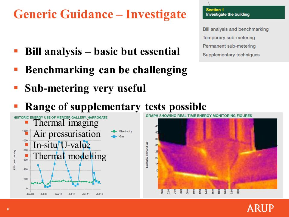 6 Generic Guidance – Investigate  Bill analysis – basic but essential  Benchmarking can be challenging  Sub-metering very useful  Range of supplementary tests possible  Thermal imaging  Air pressurisation  In-situ U-value  Thermal modelling