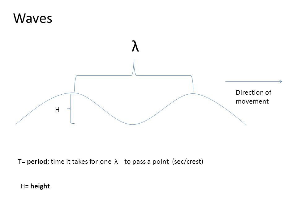 Waves λ Direction of movement T= period; time it takes for oneλto pass a point (sec/crest) H= height H