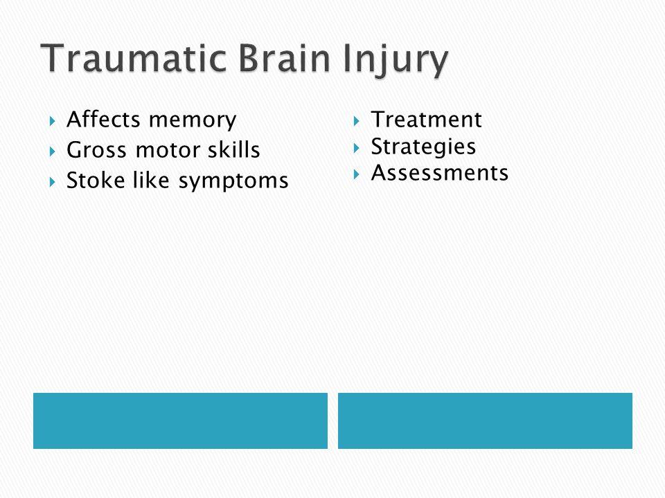  Affects memory  Gross motor skills  Stoke like symptoms  Treatment  Strategies  Assessments