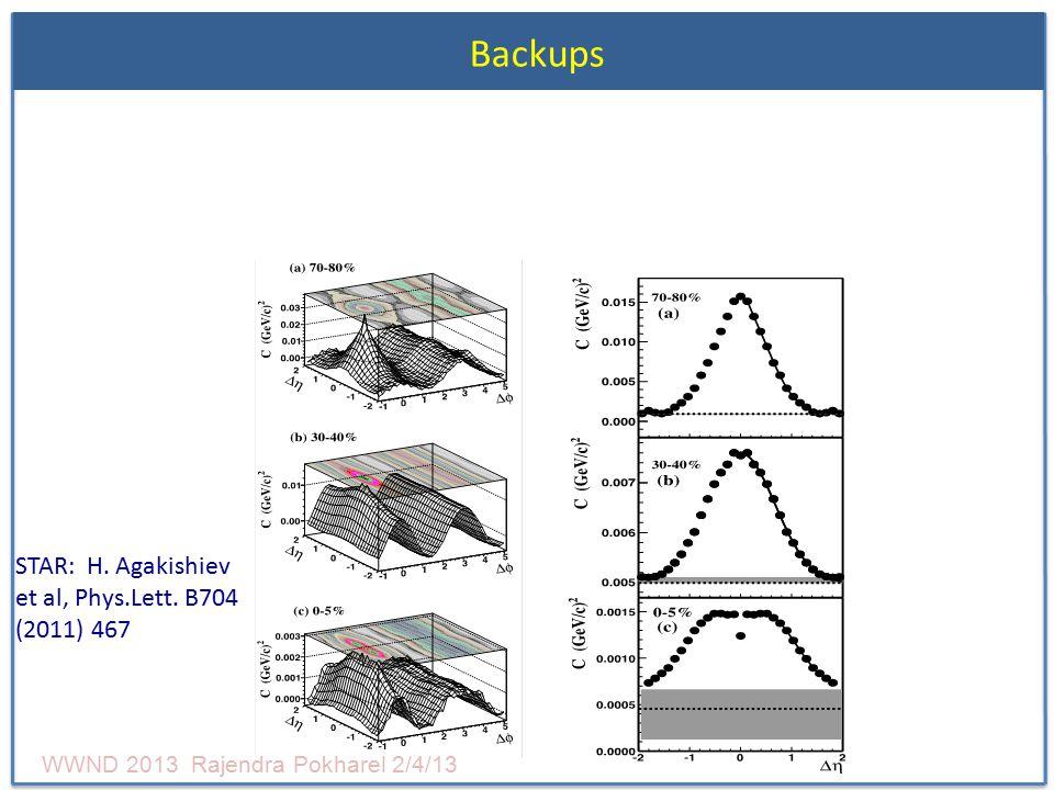 Backups STAR: H. Agakishiev et al, Phys.Lett. B704 (2011) 467 WWND 2013 Rajendra Pokharel 2/4/13