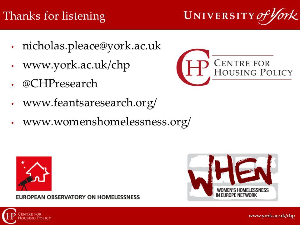 www.york.ac.uk/chpwww.york.ac.uk/chp Thanks for listening nicholas.pleace@york.ac.uk www.york.ac.uk/chp @CHPresearch www.feantsaresearch.org/ www.womenshomelessness.org/