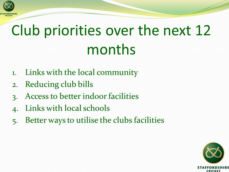 Club priorities over the next 12 months 1. Links with the local community 2.