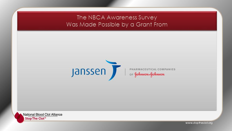 www.stoptheclot.org The NBCA Awareness Survey Was Made Possible by a Grant From The NBCA Awareness Survey Was Made Possible by a Grant From