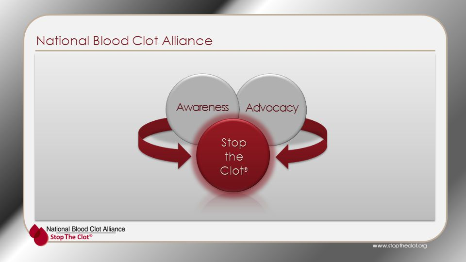 Awareness Advocacy Stopthe Clot ® National Blood Clot Alliance www.stoptheclot.org