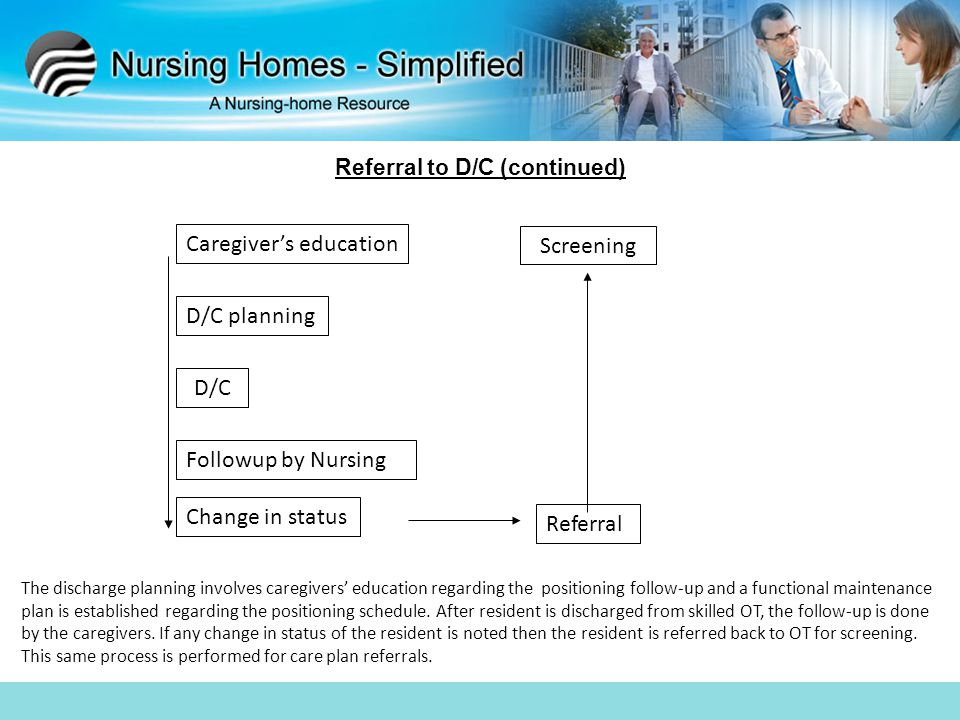 Referral to D/C (continued) The discharge planning involves caregivers' education regarding the positioning follow-up and a functional maintenance pla