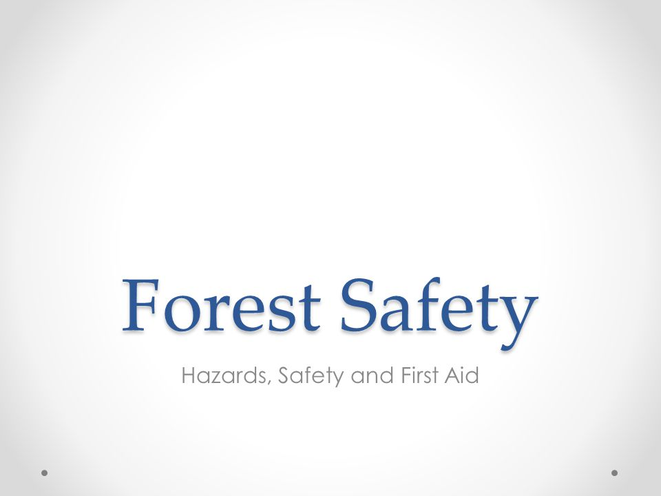 Forest Safety Hazards, Safety and First Aid