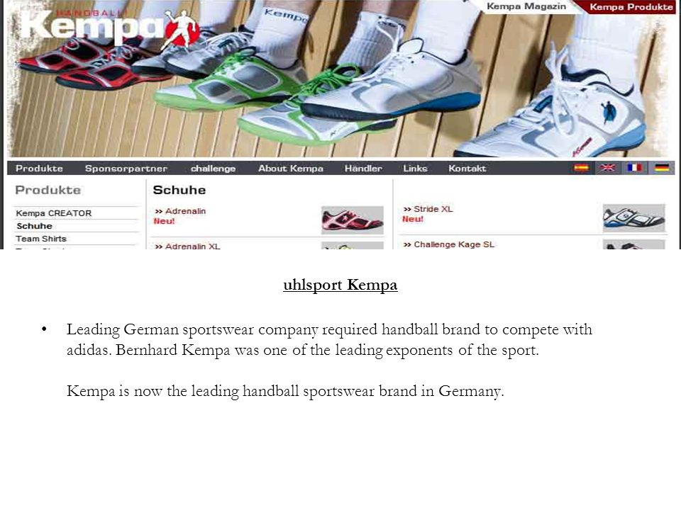 uhlsport Kempa Leading German sportswear company required handball brand to compete with adidas.
