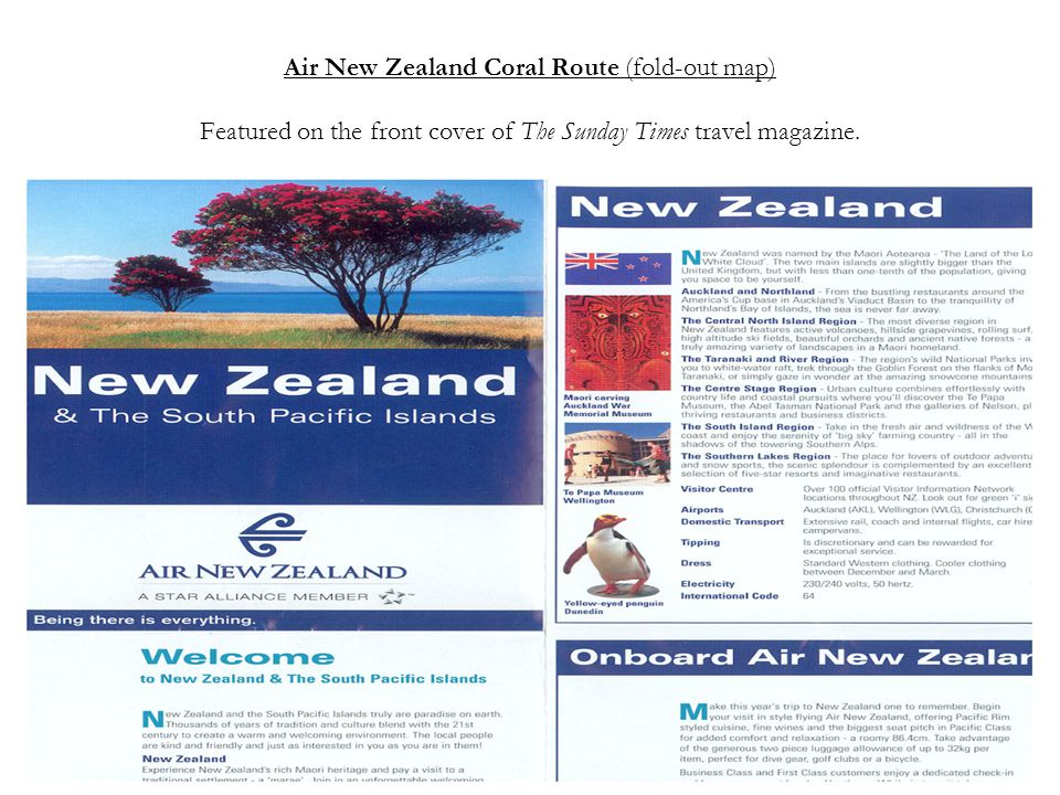 Air New Zealand Coral Route (fold-out map) Featured on the front cover of The Sunday Times travel magazine.