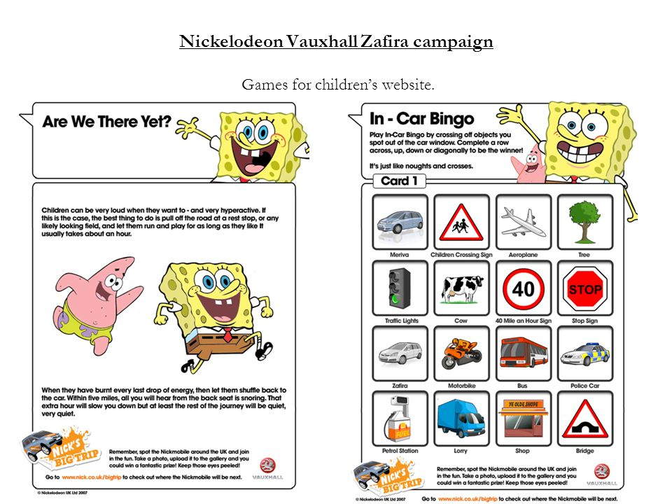 Nickelodeon Vauxhall Zafira campaign Games for children's website.