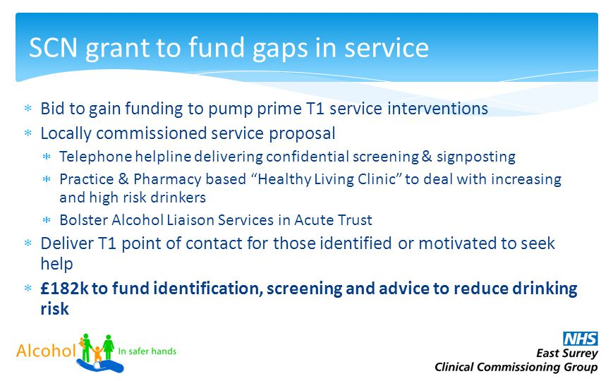 12.20 7,50 5.90 8,88 12.20 7,50 5.90 8,88 SCN grant to fund gaps in service  Bid to gain funding to pump prime T1 service interventions  Locally com