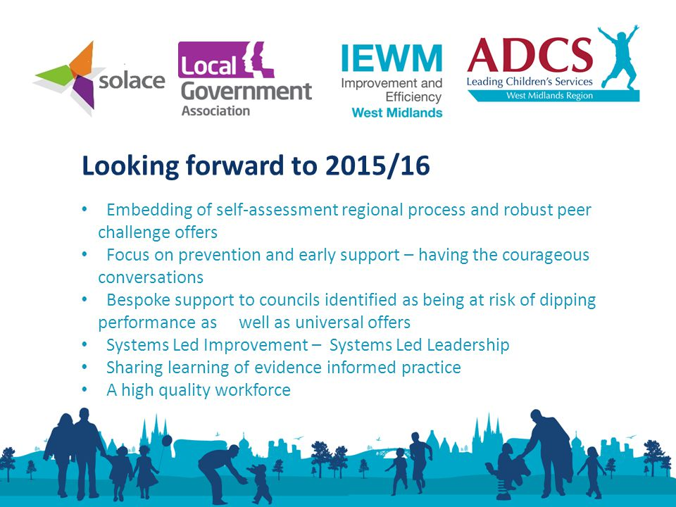 Looking forward to 2015/16 Embedding of self-assessment regional process and robust peer challenge offers Focus on prevention and early support – having the courageous conversations Bespoke support to councils identified as being at risk of dipping performance as well as universal offers Systems Led Improvement – Systems Led Leadership Sharing learning of evidence informed practice A high quality workforce
