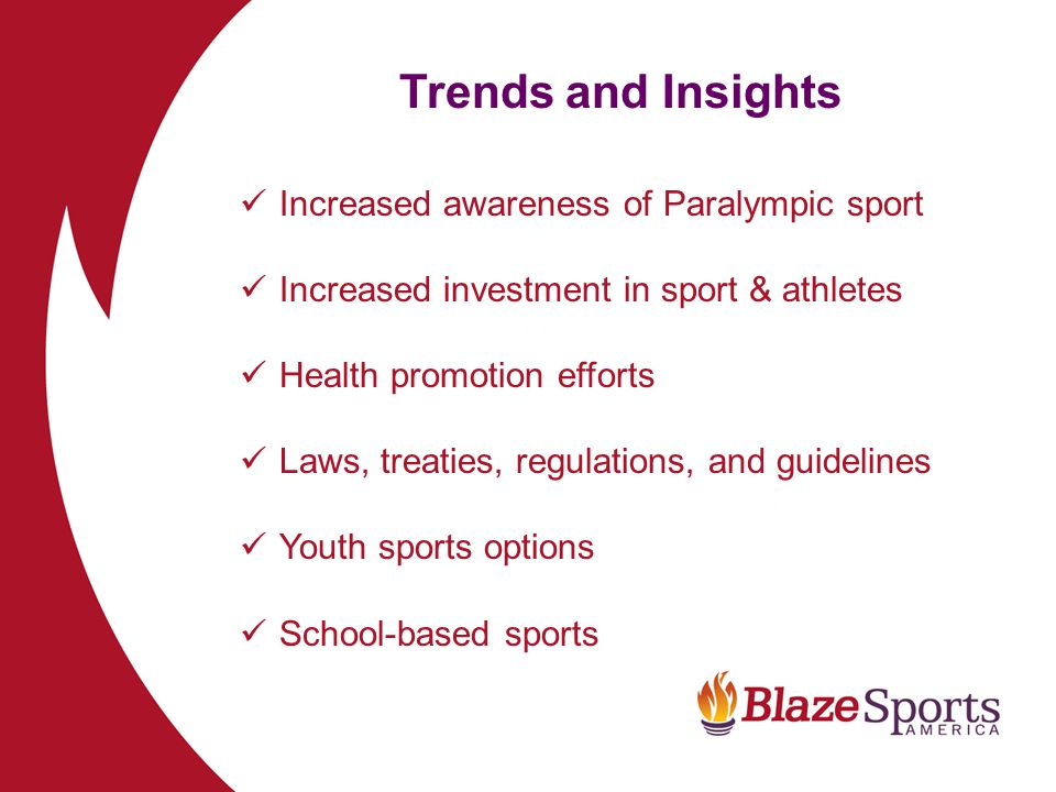 Global Trends and Insights IOC/IPC Relationship Marketing, branding, brand protection, visibility Globalization Technology – IPC policy on sports equipment Human Rights UN CRPD UN Office on Sport for Development and Peace