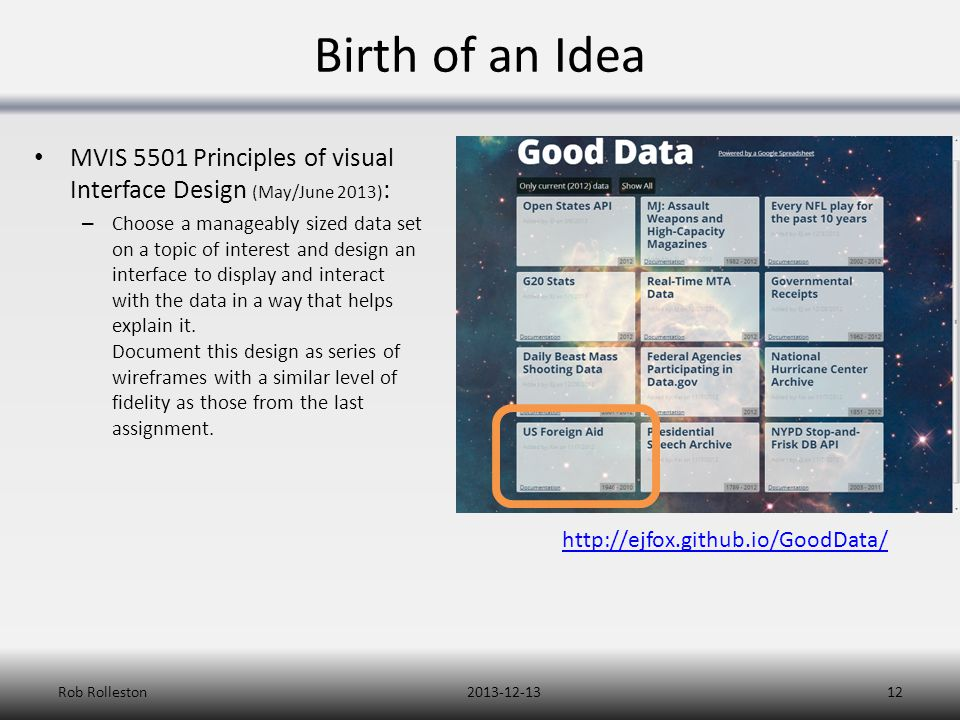 Birth of an Idea MVIS 5501 Principles of visual Interface Design (May/June 2013) : – Choose a manageably sized data set on a topic of interest and des