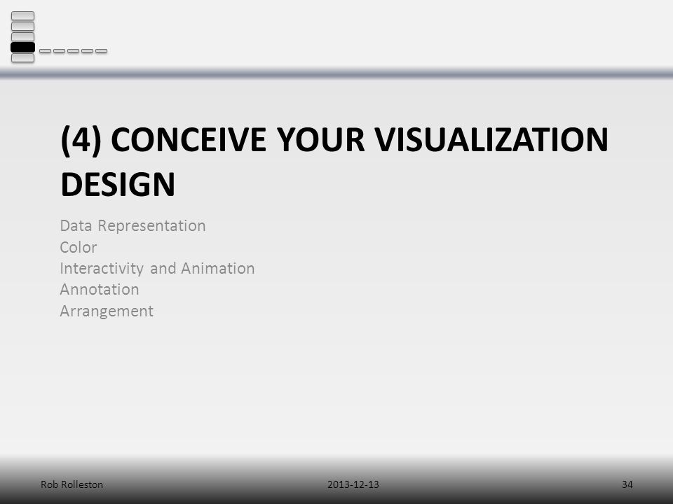 (4) CONCEIVE YOUR VISUALIZATION DESIGN Data Representation Color Interactivity and Animation Annotation Arrangement 2013-12-13Rob Rolleston34
