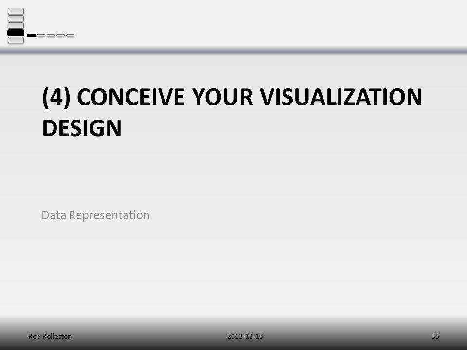 (4) CONCEIVE YOUR VISUALIZATION DESIGN Data Representation 2013-12-13Rob Rolleston35