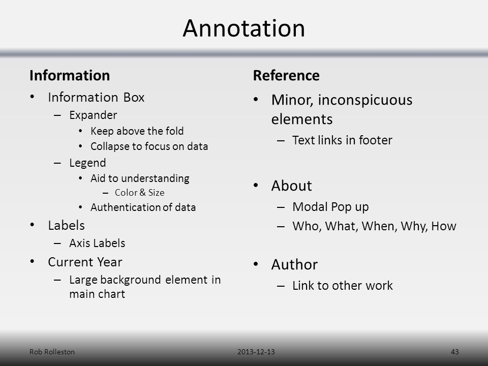 Annotation Information Information Box – Expander Keep above the fold Collapse to focus on data – Legend Aid to understanding – Color & Size Authentic
