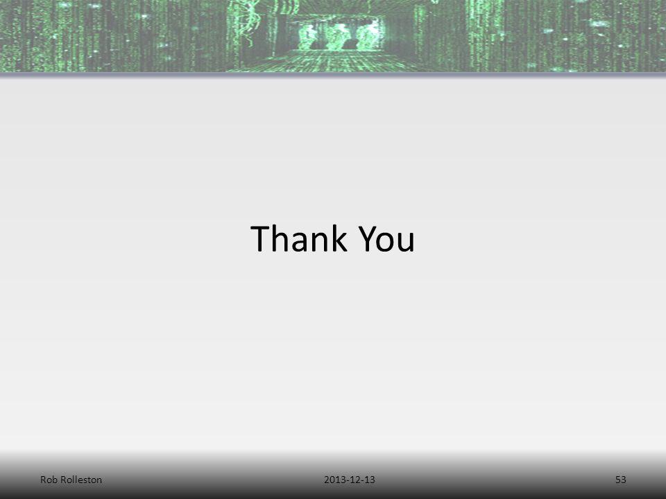 2013-12-13Rob Rolleston53 Thank You