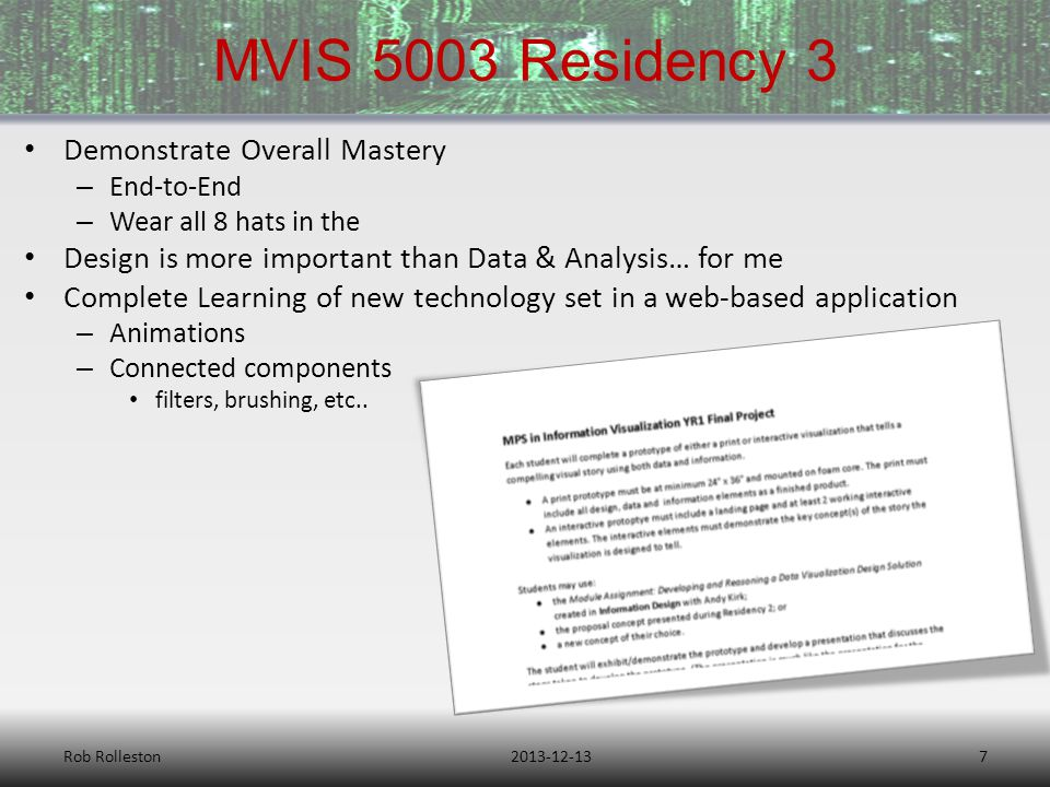 MVIS 5003 Residency 3 2013-12-13Rob Rolleston7 Demonstrate Overall Mastery – End-to-End – Wear all 8 hats in the Design is more important than Data & Analysis… for me Complete Learning of new technology set in a web-based application – Animations – Connected components filters, brushing, etc..