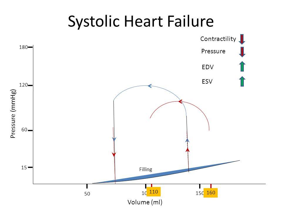 Systolic Heart Failure Filling Volume (ml) Pressure (mmHg) 50 100150 15 180 120 60 Contractility 160 110 Pressure EDV ESV